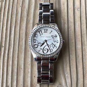 Betsey Johnson Crystal Silver Tone Watch!